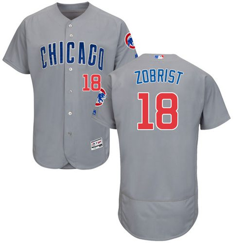 size 40 15b98 fd731 Cubs #18 Ben Zobrist Grey Flexbase Authentic Collection Road ...